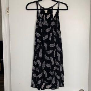 H&M Feather Pattern Black Summer Dress